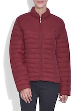 Solid Red Full Sleeved Quilted Jacket - By
