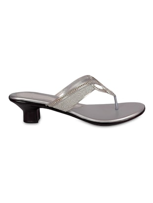 silver embellished faux leather  sandals