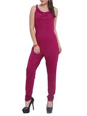 Cerise Pink Cowl-Neck Jumpsuit - By