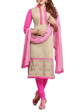 Beige N Pink Embroidered Unstitched Suit Set - By