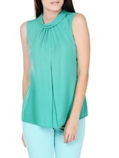 Dynasty Green Slight Gathered Top - Pera Doce