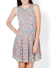 Floral Print Beige Dress With Green Piping - Pera Doce
