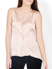 Beige High-Low Top With Front Zipper Detail - Pera Doce