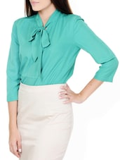 Dynasty Green Neck Tie Detail Top - Pera Doce
