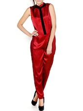Red Shimmery Closed Neck Jumpsuit - Pera Doce