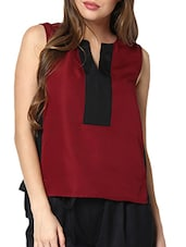 Maroon And Black Colour Block Top - Pera Doce