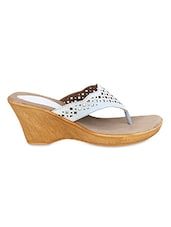 White Faux Leather Cut Worked Open Toed Wedges - By