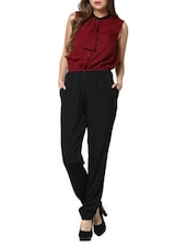 Maroon And Black Double Bow Jumpsuit - Pera Doce