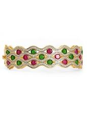 Crystal And Stone Studded Gold Cuff Bracelet - Blinglane