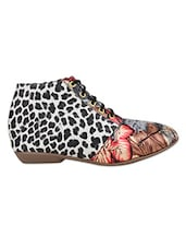 Multi Synthetic Animal Printed Round Toed Boots - By