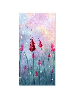 Multicolour abstract printed canvas painting with wooden frame