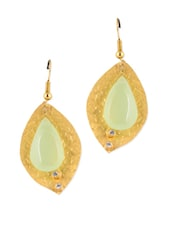 Gold Plated Green Stone Studded Fashion Earrings - Blinglane