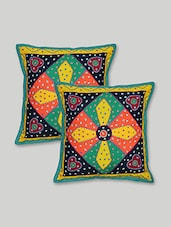 Multicolour Patch Worked  Cotton Cushion Cover Set - By