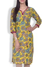 Yellow Floral Printed Cotton Kurta - By