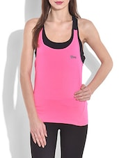 Pink And Black Cotton Spandex Knit Racer Back Tank Top - By
