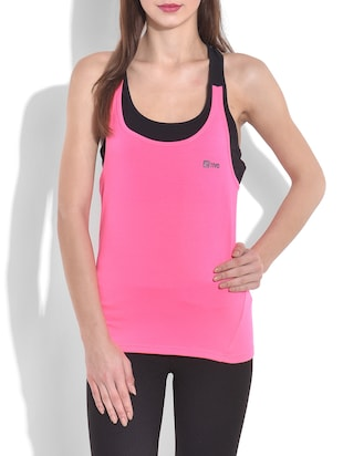 pink and black cotton spandex knit racer back tank top