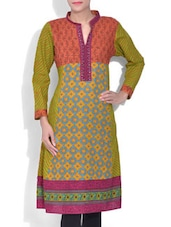 Orange And Green Printed Cotton A-Line Kurta - By