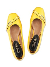 Yellow Faux Leather  Square Toed Ballerinas - By