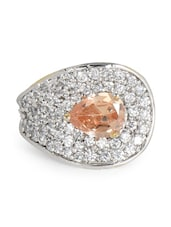 Cubic Zirconia Studded Peach Stone Ring - Blinglane