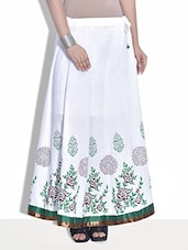 White Printed Cotton Maxi Skirt - By