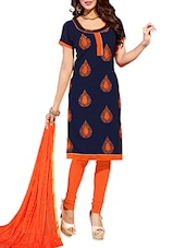 Navy Blue And Orange Chanderi Embroidered Unstitched Suit Set - By