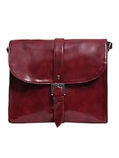 Maroon Faux Leather Buckled Sling Bag - By