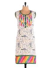 Tribal Print Colour Block Round Neck Cotton Kurti - Paakhi