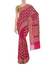 Ruby Pink Banarasi Pure Chiffon Saree - By
