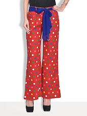 Red Polka Dots Cotton Twill Palazzos With Belt - By