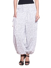 White Printed Cotton Harem Pants - By