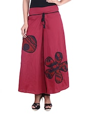 Red Cotton Palazzo Pants With Patch Work - By