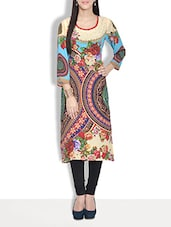 Multi Colored Georgette Printed Three Quarter Sleeved Kurta - By
