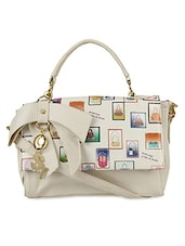 Beige Faux Leather Printed Hand Held Bag - By