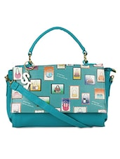 Blue Faux Leather Weave Designed Hand Held Bag - By