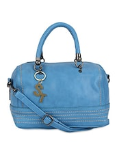 Blue Faux Leather Embellished Hand Held Bag - By