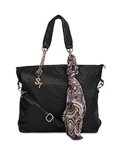 Black Faux Leather Printed Shoulder Bag - By