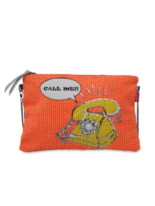 orange sequined canvas and leatherette sling bag