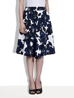 white and navy blue printed polycrepe skirt -  online shopping for Skirts