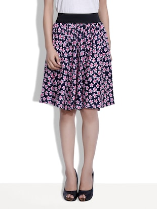 navy blue printed polycrepe skirt