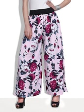 Pink Floral Print Polycrepe Flared Pants - By