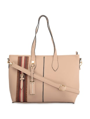 Beige Leatherette Striped Handbag