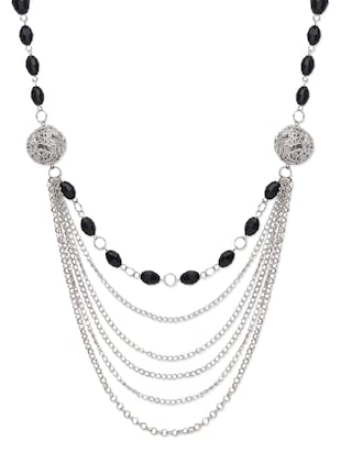 Silver embellished multilayered necklace