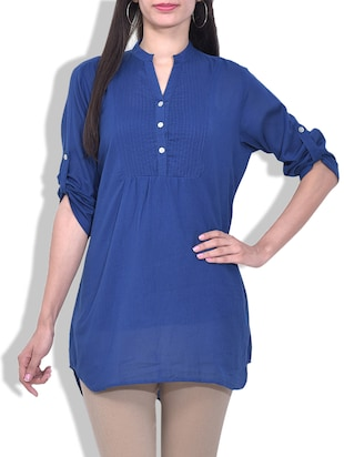 Solid Blue Rayon Top