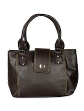 Solid Brown Faux Leather Handbag - By