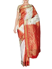 White And Red Handwoven Art Silk Saree - By