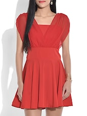 Solid Red Flared Short Dress - By