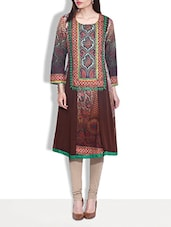 Dark Brown Printed Cotton Anarkali Kurti - By