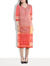 Peach Printed Quarter Sleeved Cotton Kurti - By