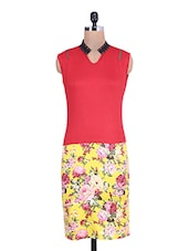 Red Floral Printed Sleeveless Dress - By