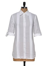 Solid White Shirt With Tucks On Front - MORIYA